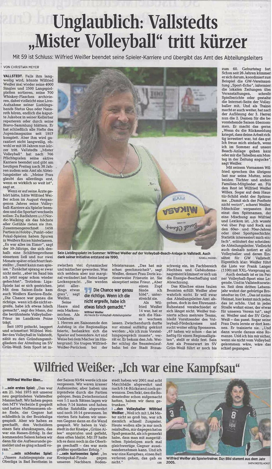 Willex Mr Volleyball tritt kürzer